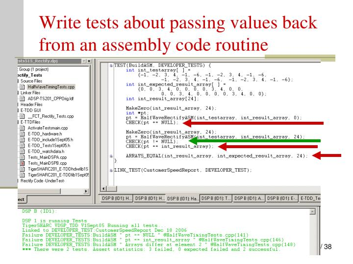 Write tests about passing values back from an assembly code routine