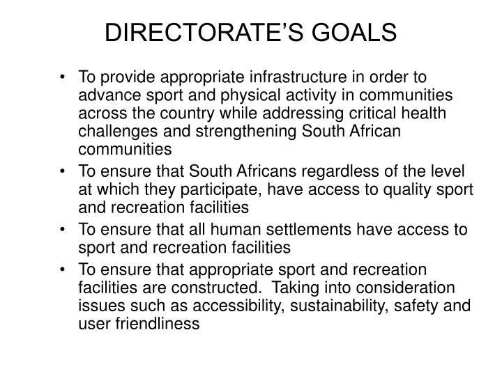 DIRECTORATE'S GOALS