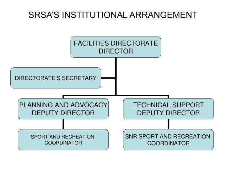SRSA'S INSTITUTIONAL ARRANGEMENT