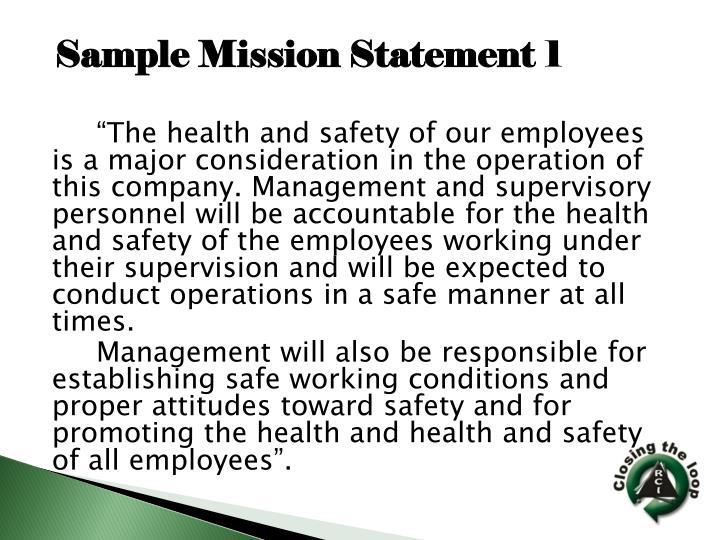 Sample Mission Statement