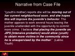 narrative from case file