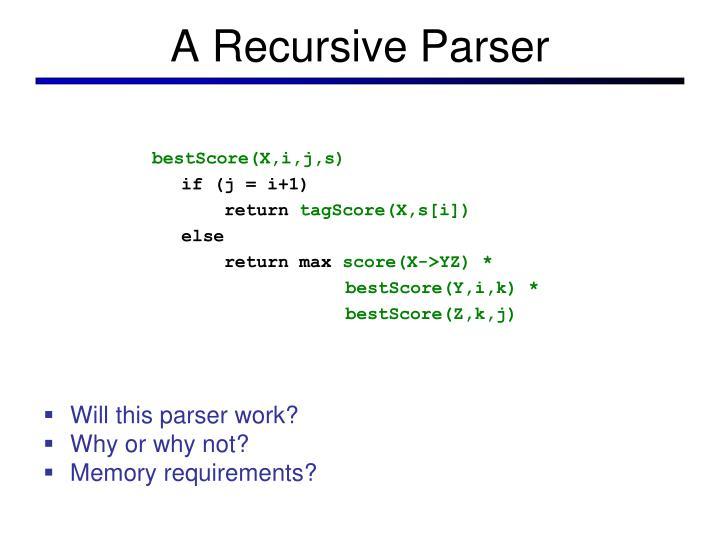 A Recursive Parser