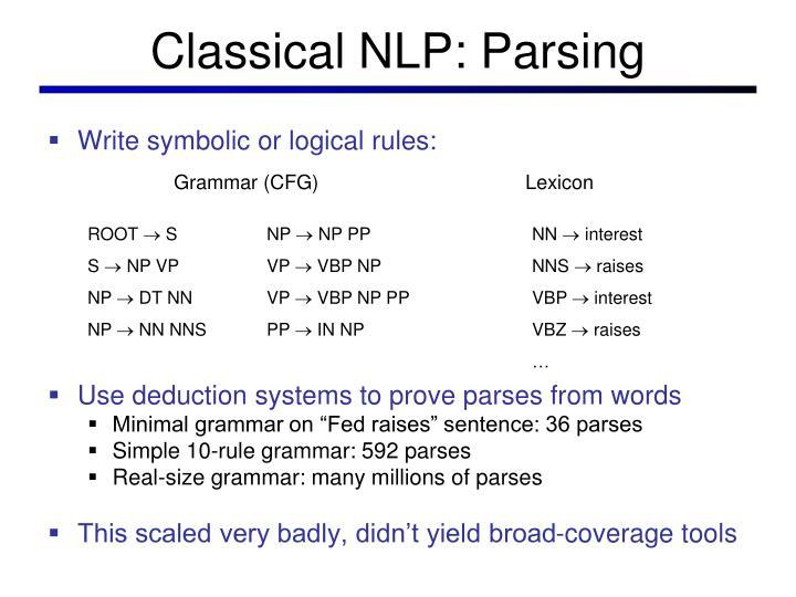 Classical NLP: Parsing