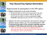 year round pay option reminders