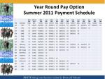 year round pay option summer 2011 payment schedule