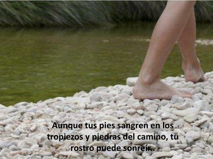 Aunque tus pies sangren en los tropiezos y piedras del camino, tu rostro puede sonreír..