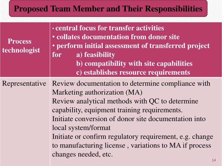 Proposed Team Member and Their Responsibilities