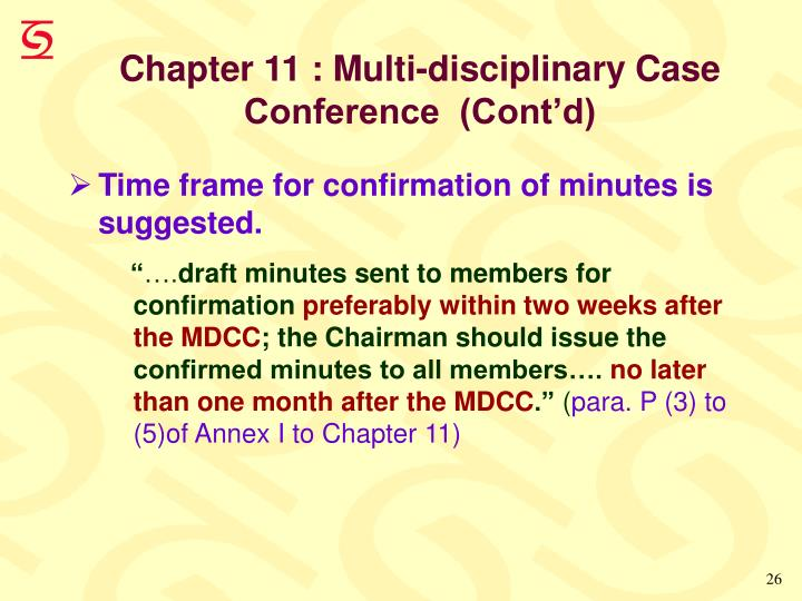 Chapter 11 : Multi-disciplinary Case Conference  (Cont'd)
