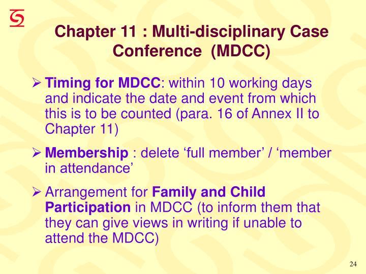 Chapter 11 : Multi-disciplinary Case Conference  (MDCC)