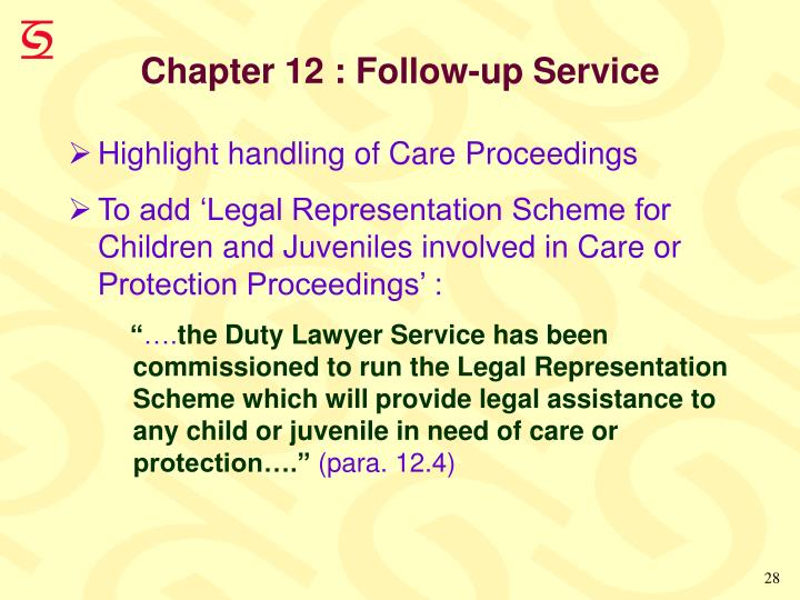 Chapter 12 : Follow-up Service