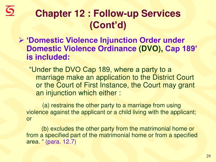 Chapter 12 : Follow-up Services (Cont'd)