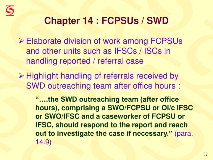 Chapter 14 : FCPSUs / SWD