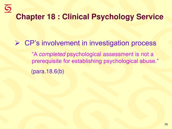 Chapter 18 : Clinical Psychology Service