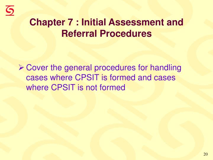 Chapter 7 : Initial Assessment and
