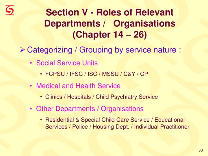 Section V - Roles of Relevant Departments /   Organisations