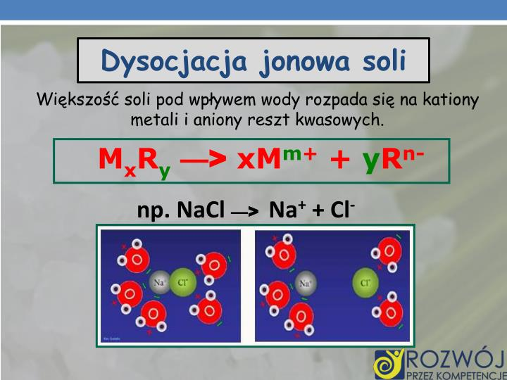 Dysocjacja jonowa soli