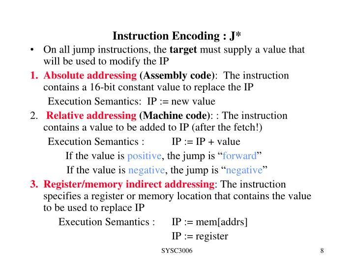 Instruction Encoding : J*