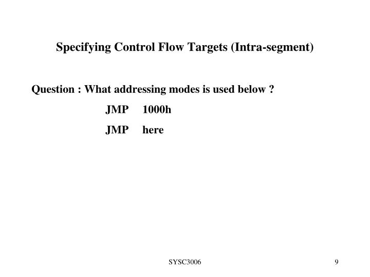 Specifying Control Flow Targets (Intra-segment)