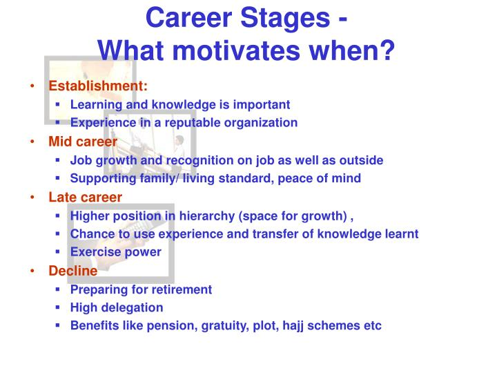 Career Stages -                                  What motivates when?