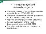 ptt ongoing agrifood research projects1