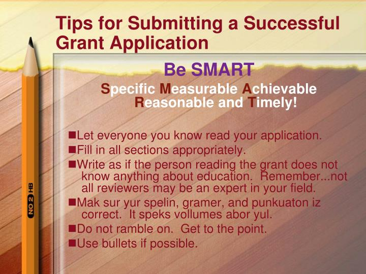 Tips for Submitting a Successful Grant Application
