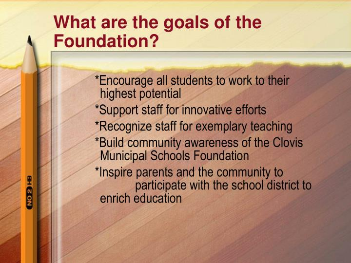 What are the goals of the Foundation?