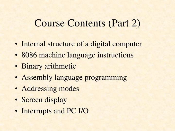 Course Contents (Part 2)