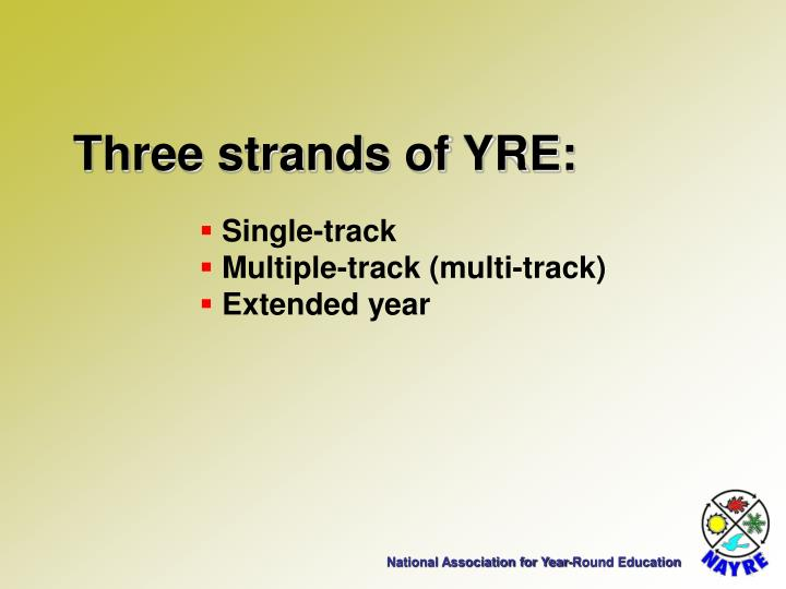 Three strands of YRE: