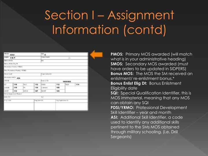Section I – Assignment Information (contd)