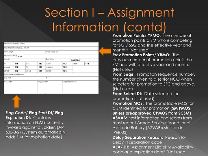 Section I – Assignment Information (