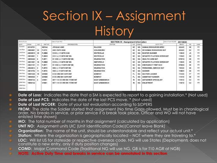 Section IX – Assignment History