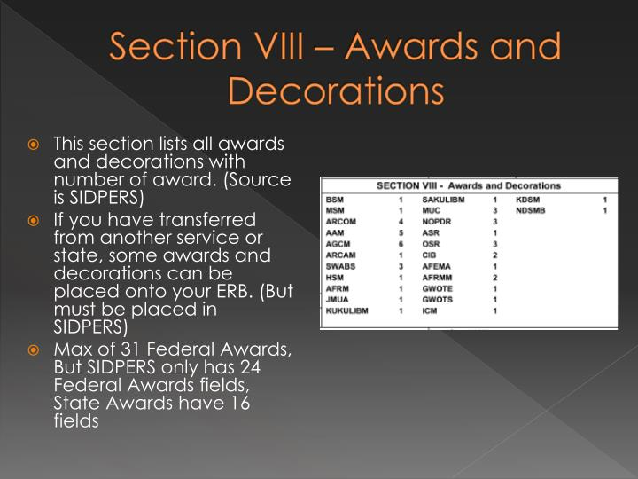 Section VIII – Awards and Decorations