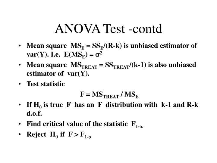 ANOVA Test -contd