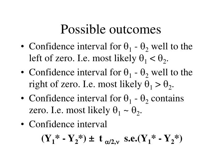 Possible outcomes