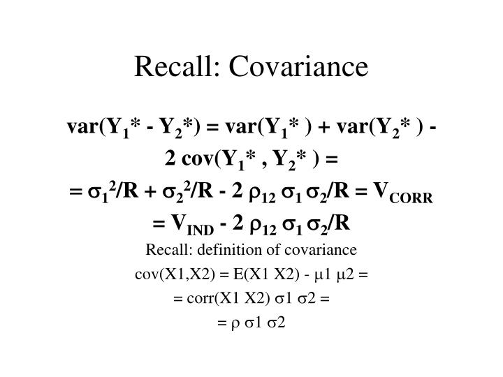 Recall: Covariance