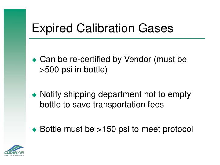 Expired Calibration Gases