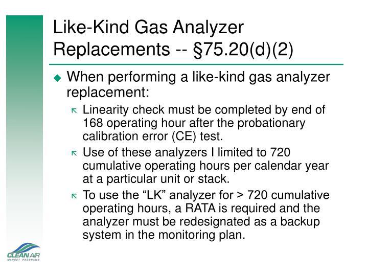 Like-Kind Gas Analyzer Replacements --