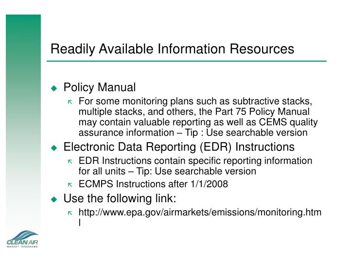 Readily Available Information Resources