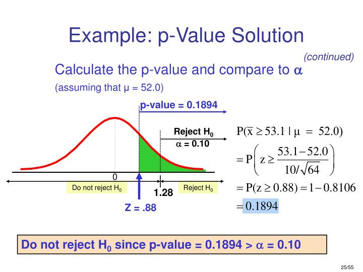 Example: p-Value Solution