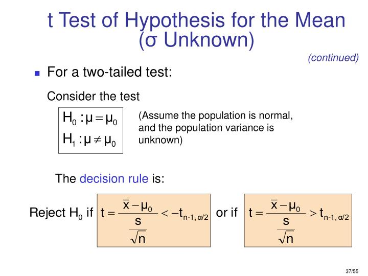 t Test of Hypothesis for the Mean (