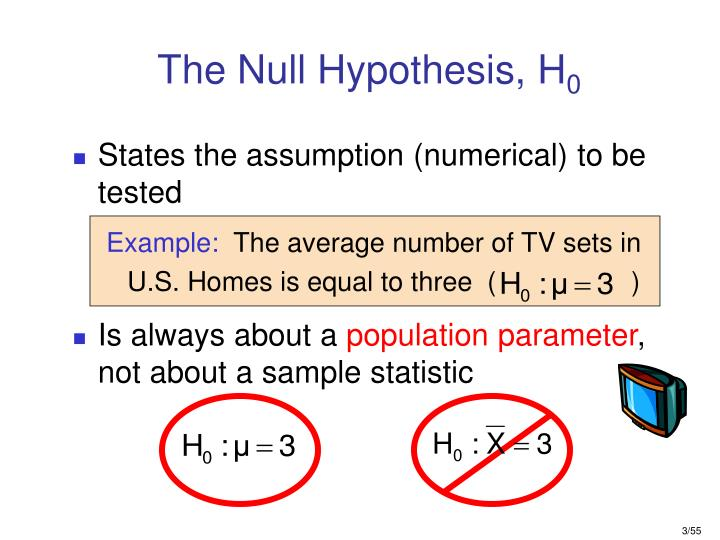 The null hypothesis h 0