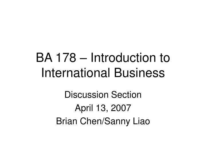 Ba 178 introduction to international business