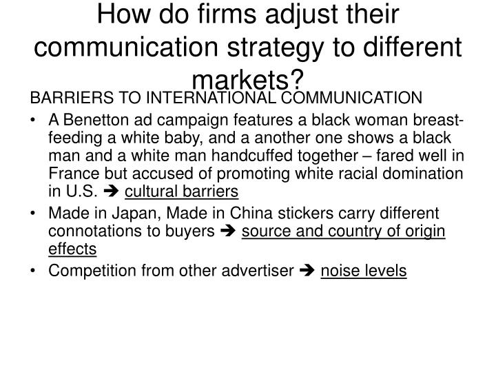 How do firms adjust their communication strategy to different markets?