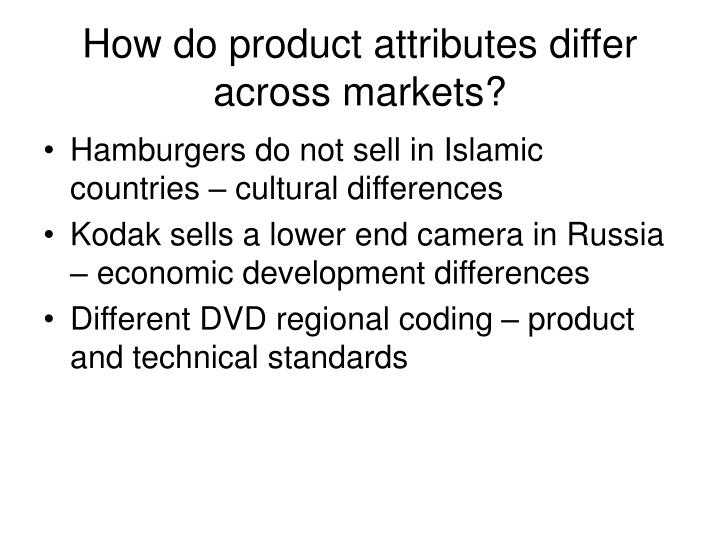 How do product attributes differ across markets?