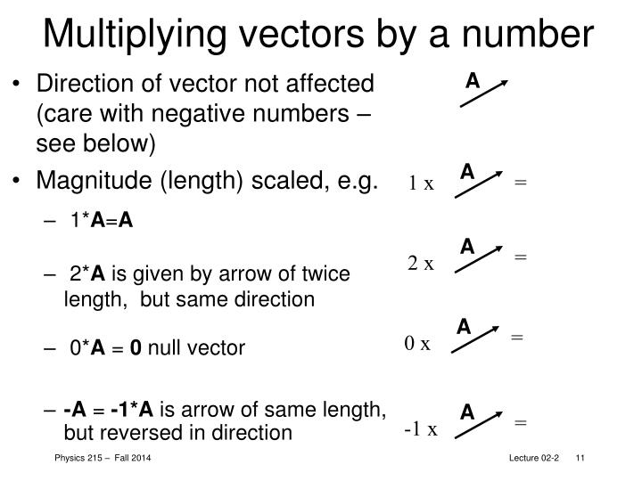 Multiplying vectors by a number