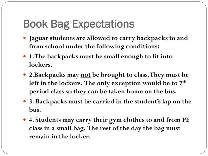 Book Bag Expectations