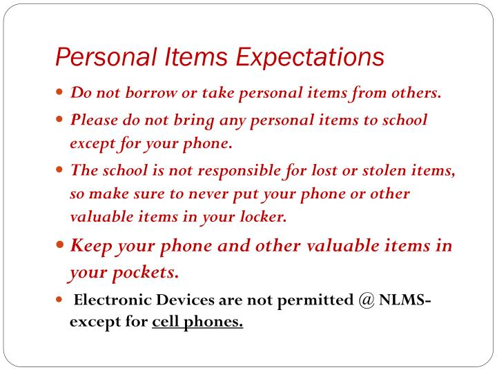 Personal Items Expectations