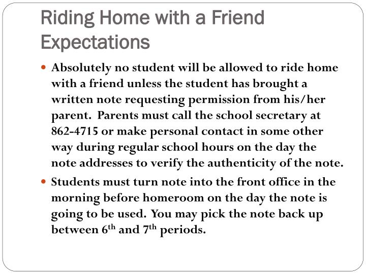 Riding Home with a Friend Expectations
