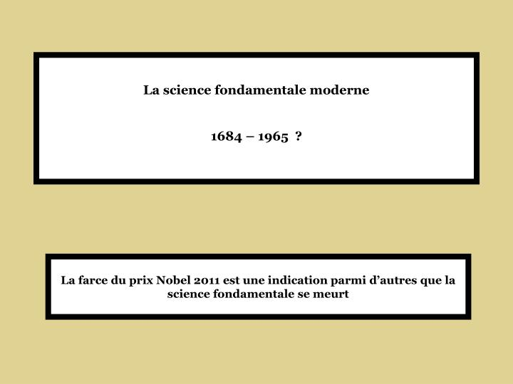 La science fondamentale moderne