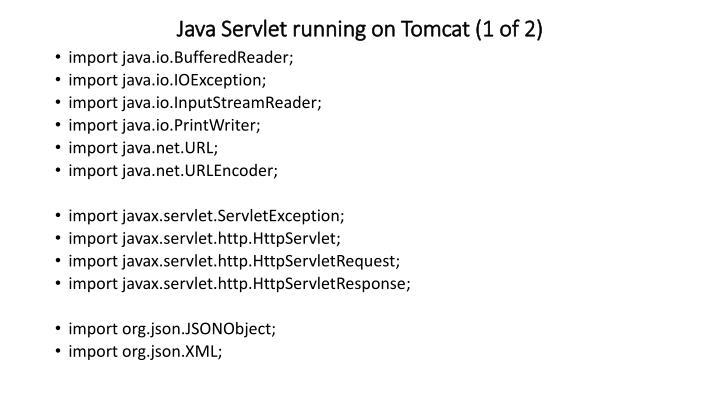Java Servlet running on Tomcat (1